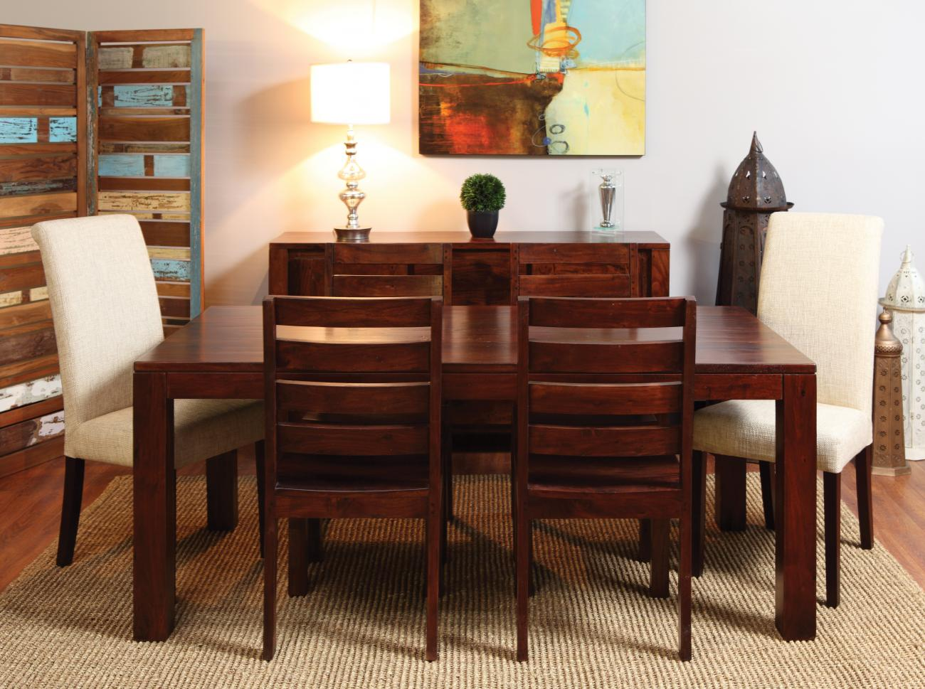 Modern Dining Table 4 Wooden Chairs U0026 2 Cloth Chairs
