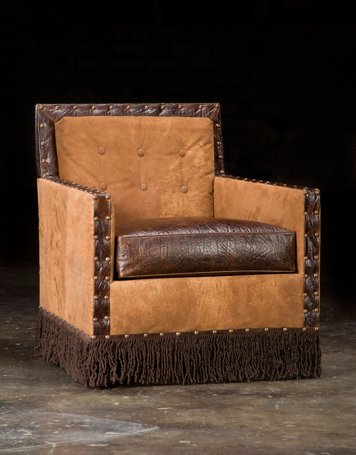 Stan, South Western Style Leather Combination Club Chair.