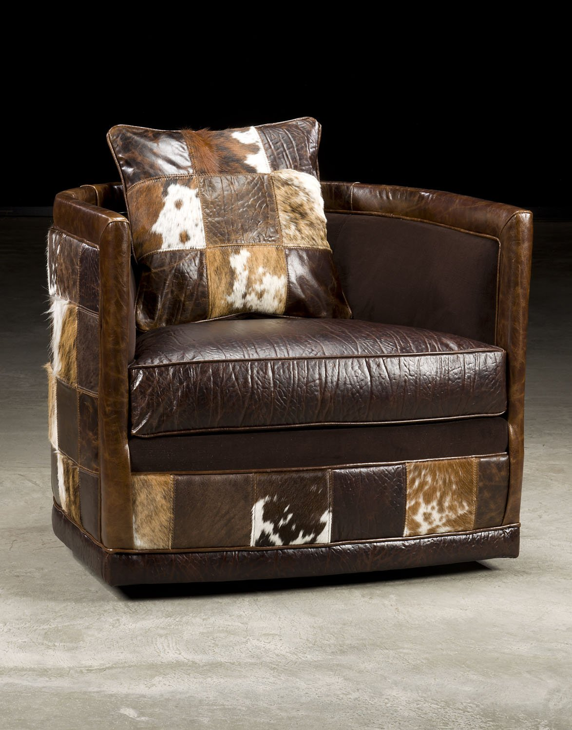 Swivel Leather Patches Club Chair.