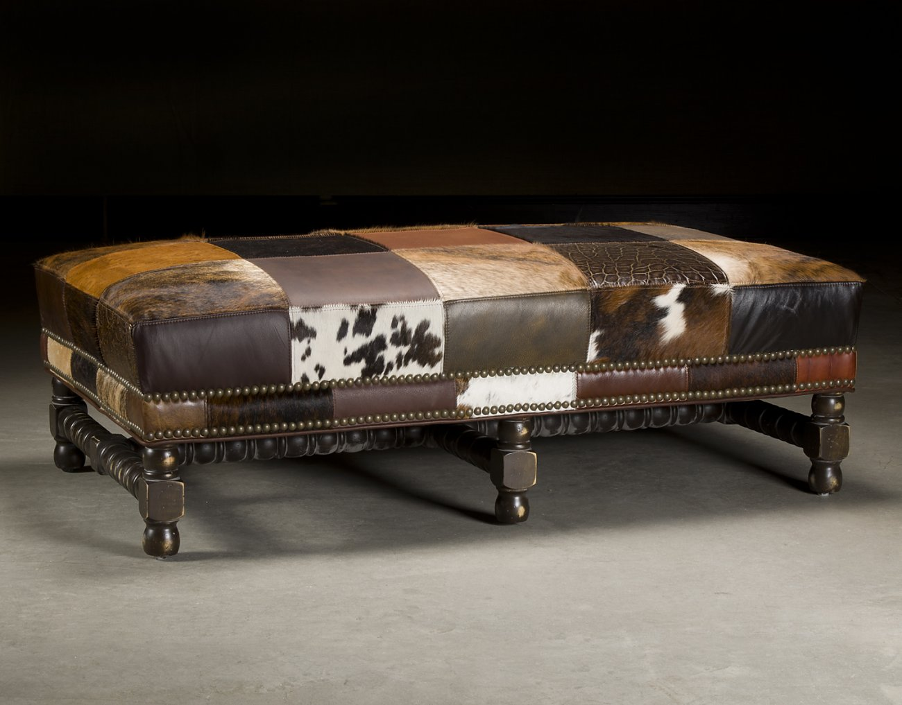 Cow Hide Leather Patches Ottoman.